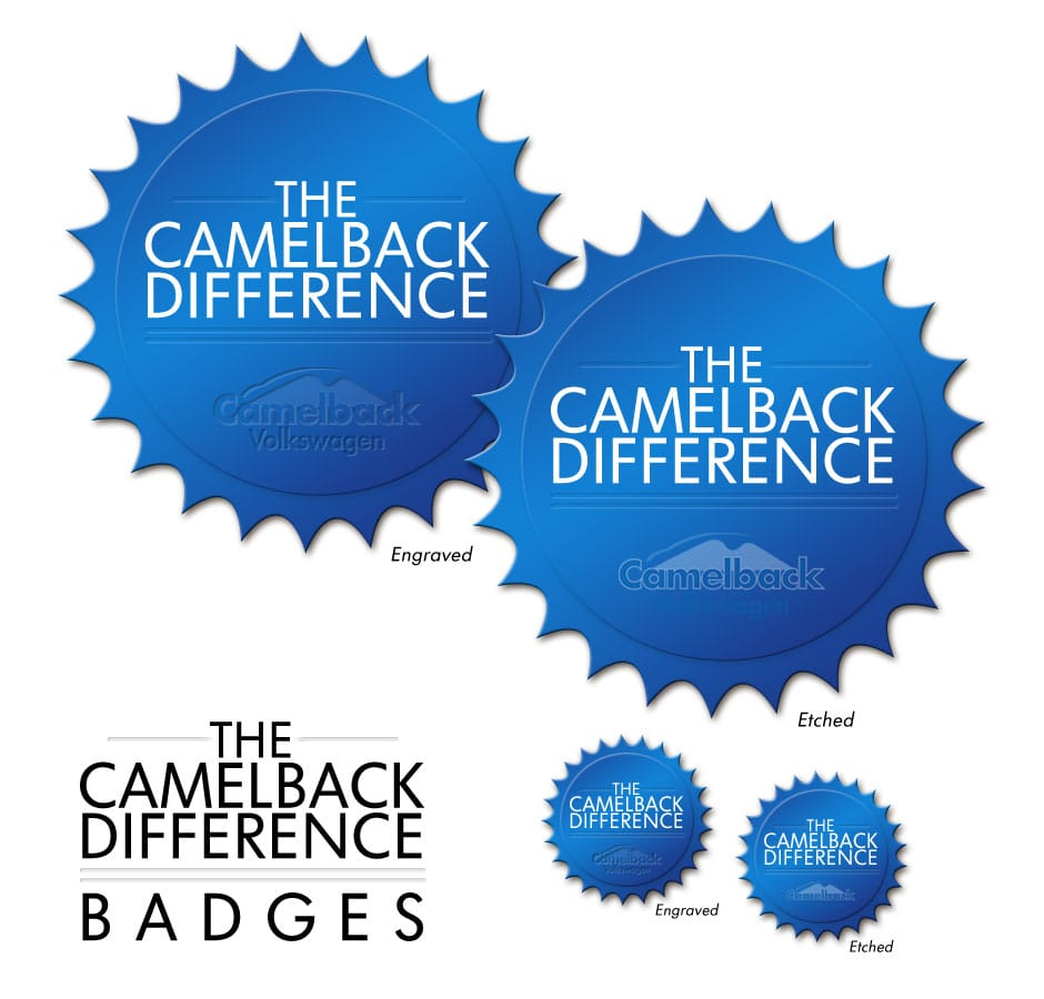 Camelback Volkswagen. Camelback Difference Badge Variations.